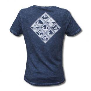 Tee Shirt Homme Col V Beach Lifeguard Bleu