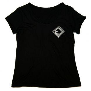 Tee shirt Femme col V Vintage Beach Lifeguard Noir