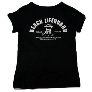 Tee shirt col V Vintage Beach Lifeguard Noir