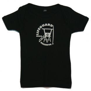 Tee shirt manches courtes Beach Lifeguard Noir