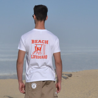 Tee shirt manches courtes Beach Lifeguard Blanc