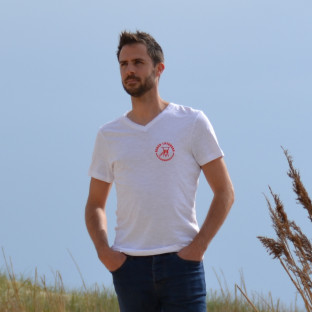 Tee Shirt Homme Col V Beach Lifeguard Blanc