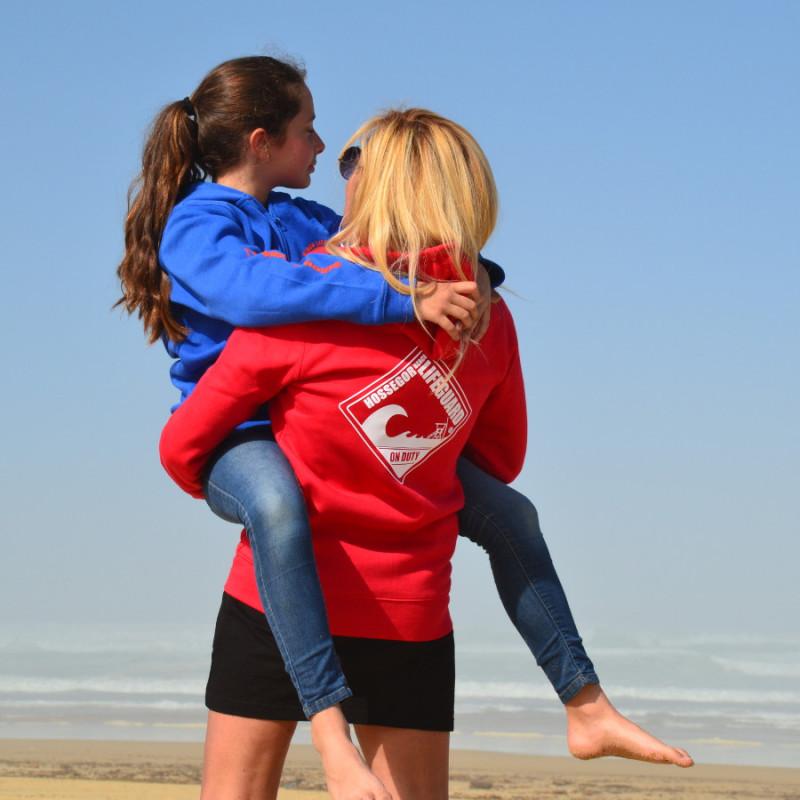 Sweat capuche zippé Femme Beach Lifeguard Rouge