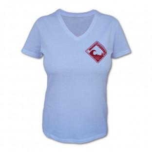 Tee shirt Femme col V Beach Lifeguard Blanc