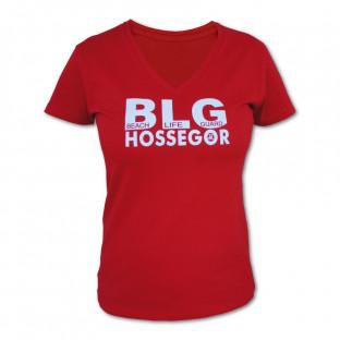 Tee shirt Femme col V Beach Lifeguard Rouge