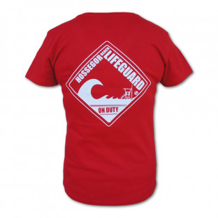Tee shirt col V Vintage Beach Lifeguard Fuchsia