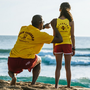 Tee shirt manches courtes Beach Lifeguard Jaune
