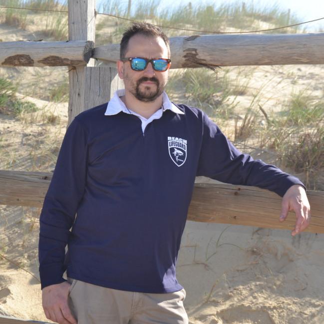 Polo «Rugby» Homme Beach Lifeguard Noir