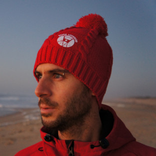 Bonnet à pompon Beach Lifeguard Rouge